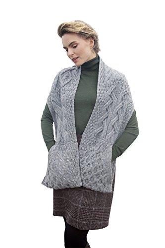 Aran Woollen Mills Supersoft Irish Merino Wool Cable Knit Stole Sweater Tunic ()