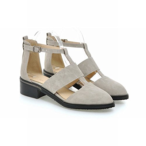 Show Shine Womens Fashion Retro Buckle Chunky Heel Shoes Grigio Chiaro