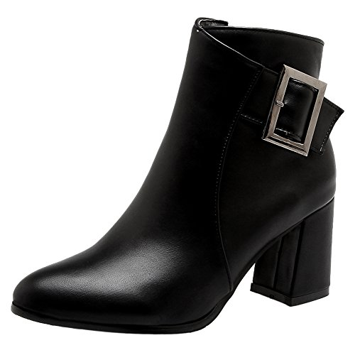 COOLCEPT Booties Boots Fashion Black Heel Women Zip Block Dress rCxXzfrqw