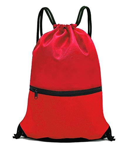 HOLYLUCK Men & Women Sport Gym Sack Drawstring Backpack Bag - Red