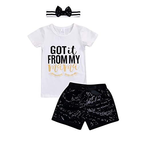 YOUNGER TREE 3pcs Little Girls Outfits Letter Print Tops Sequins Pants + Headband Short Set (4T, White+Black)