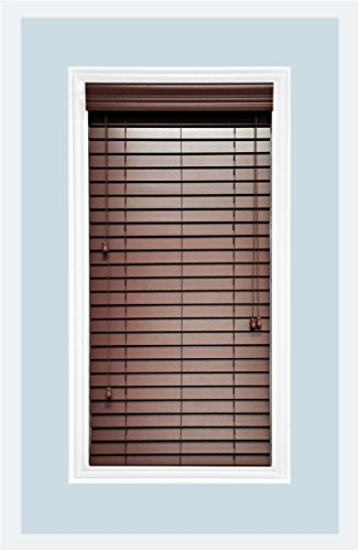 Delta Blinds Supply Custom-Made, Faux Wood Horizontal Window Blinds, 2 Inch Slats, Inside Mount, Chestnut (Medium Brown,) Inside Window Size: 36″ W x 74″ L