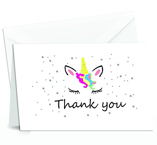 Unicorn Thank You Cards - 4x7 Inches of 50 Blank Card Notes with Envelopes - Perfect for Gift-Greeting Cards for Kids and Birthday Party, Baby Shower, Graduation, Wedding - Yellow Unicorn Horn Design -