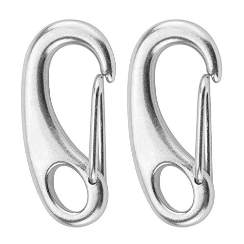 Walmeck- 2PCS Marine Boat Stainless Steel Spring Snap Hook Clips Quick Link Carabiner Buckle Eye Shackle Lobster Claw Clasps