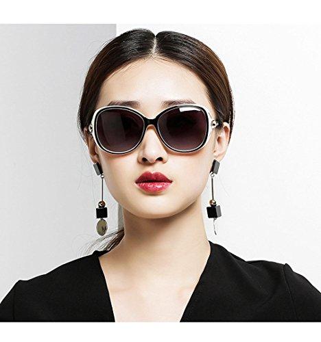 Plástico QQBL Red BlackandWhite Gafas Metal Mujer Elegante De De Sol Resina Polarizadas De De XpAqp