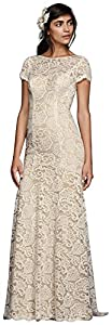 David's Bridal Lace Wedding Dress Short Illusion Sleeves Style KP3780