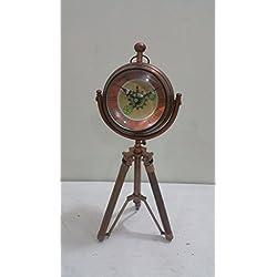 NAUTICAL MARITIME ~ COPPER FINISH CLOCK WITH TRIPOD DESKTOP ~ TABLE CLOCK DECOR