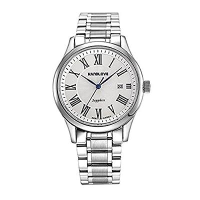 Quartz Fashion Sapphire Mirror Waterproof Epidermal Strip Men's watch - WHITE