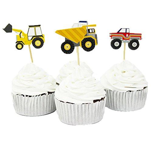 (BETOP HOUSE Set of 24 Pieces Truck Series Tractor Excavator Van Car Decorative Cupcake Topper)