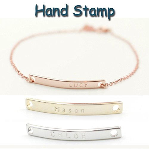 A Personalized Name Bar Bracelet 16K Plated Plate Charms Hand Stamp or Computer Diamond Engraving bridesmaid Wedding Graduation Birthday Anniversary G…