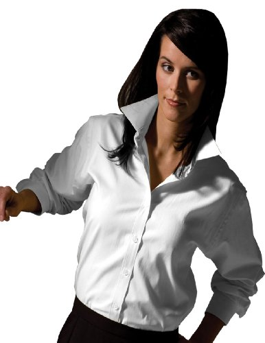 Ed Garments Women's Pinpoint Long Sleeve Oxford Shirt, WHITE, X-Small Button Down Pinpoint Oxford Shirt