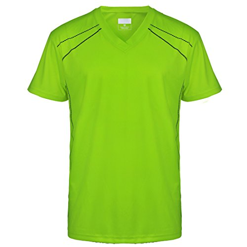 UV Sun Protection Lightweight T-Shirts for Men V Neck Short Sleeve Athletic Sports Yellow Tee