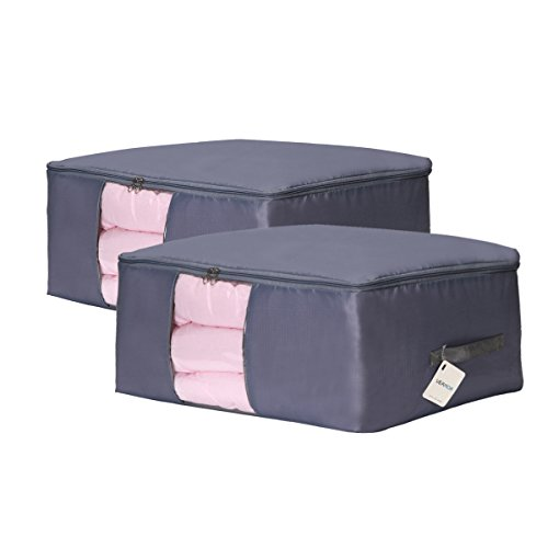 - VEAMOR King Quilt Storage Bags Pack of 2,Pillow Beddings/Blanket Clothes Organizer Storage Containers with Zippers,Size (27.6x19.7x11.8) Breathable and Moistureproof .(Grey 2pcs, XXL)