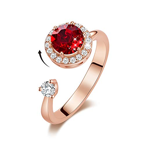 CDE Rotating Birthstone Rings for Girls Womens Birthday Gifts Embellished with Crystals from Swarovski Ring 18K White/Rose Gold Plated Adjustable Size 5-9