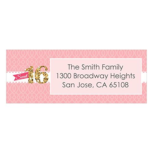 Custom Sweet 16 - Personalized 16th Birthday Party Return Address Labels - Set of 30