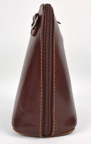 uso cuero para auténtico de Bolso hombro italiano Benagio o cruzado de chocolate EwqACY