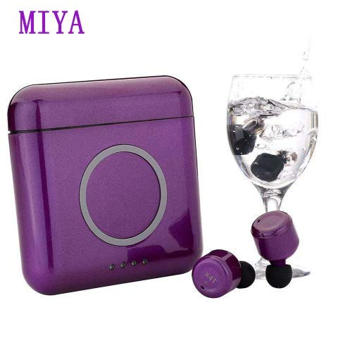 Miya Bluetooth Ture Wireless Earbuds,Bluetooth Touch Control Headset with Mic Deep Bass Stereo Earbuds Sweatproof Headphone Hand Free in Ear Earphone Noise Cancelling for Samsung iPhone-Purple
