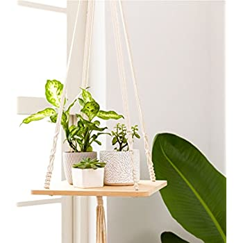 """TYLife Macrame Plant Hanger Shelf Hanging Home Decor 45 inches,45"""" H, 12""""×0.5"""""""