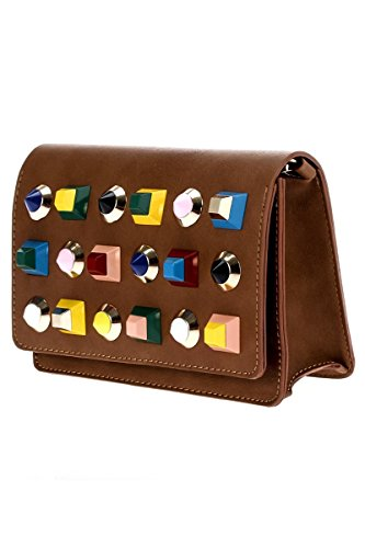 LColette Multi Stones Front Accented Flap Over Messenger Bag With Chain Strap HD2627 Handbag (Accented Front Flap)