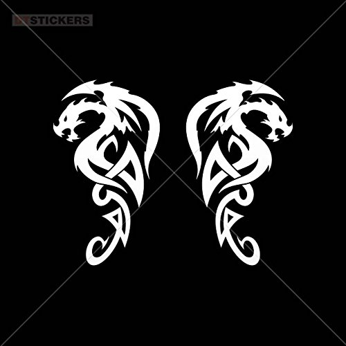 Decoration Vinyl Sticker Pair Of Symbol Of Dragons Decoration Motorbike symbolic death chinese furious (10 X 5,76 Inches) Vinyl color White