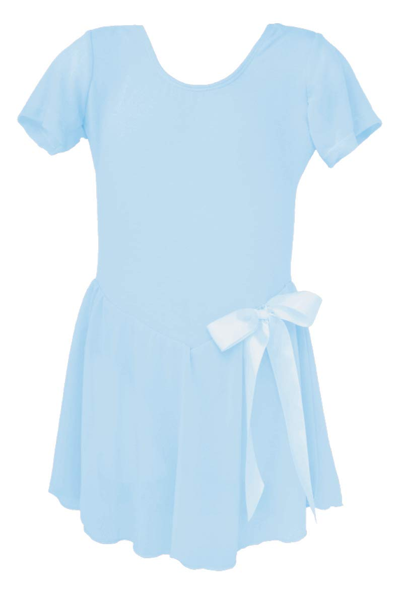 Dancina Skirted Ballet Leotard Short Sleeve Full Front Linking 6 LightBlue