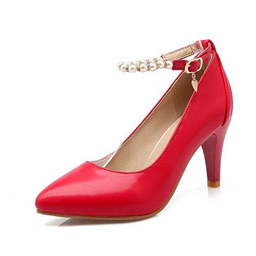 Agoolar Légeres Stylet Chaussures Couleur Boucle Rouge Pointu Femme Unie aSqfaHw