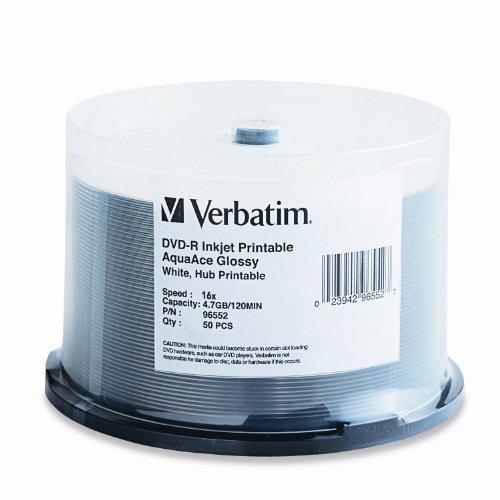 Verbatim DVD-R 4.7GB 16X Aqua Ace White Glossy Inkjet Printable Surface, Hub Printable - 50pk Spindle
