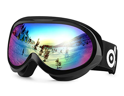 Odoland Ski Goggles for Youth Age 8-16 - UV400 Protection and Anti-Fog - Double Grey Spherical Lens for Sunny and Cloudy Days (Black)