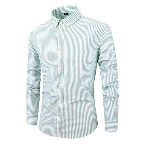 (Itemnew Men's Striped Cotton Oxford Regular Fit Button Down Long Sleeve Formal Shirts (X-Large, Green))