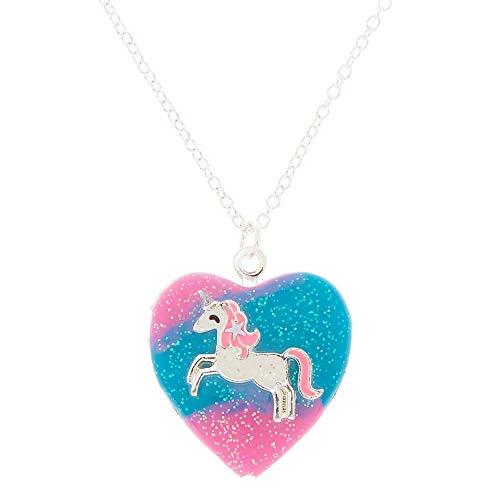 Claire's Girl's Silver Pastel Unicorn Heart Locket Pendant Necklace (Multi Heart Locket)