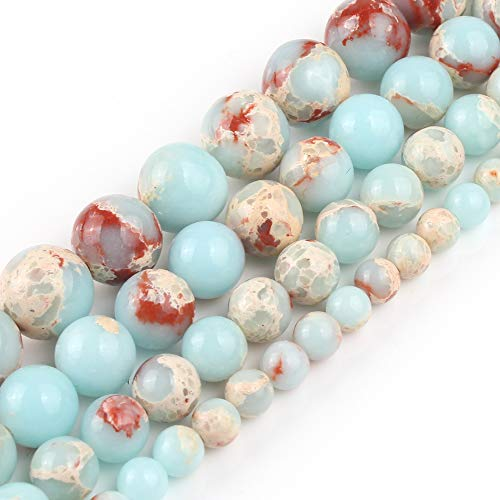 Yochus 10mm Snakeskin Blue Stone Beads Round Loose Beads Natural Stone Beads for Jewelry Making