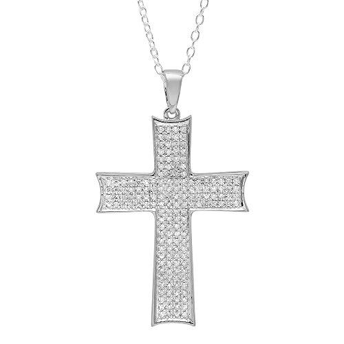Dazzlingrock Collection 0.45 Carat (ctw) 18K Round Diamond Men's Cross Pendant 1/2 CT (Silver Chain Included), White Gold ()