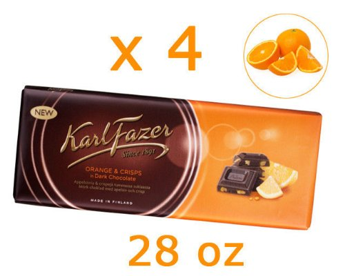 4 Bars of Karl Fazer Finland Dark Chocolate with Orange Crisps