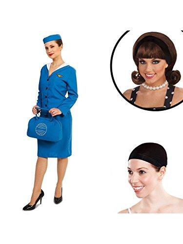 Dream Weavers Costumers Retro Glam Airline Stewardess Adult Costume Kit S ()