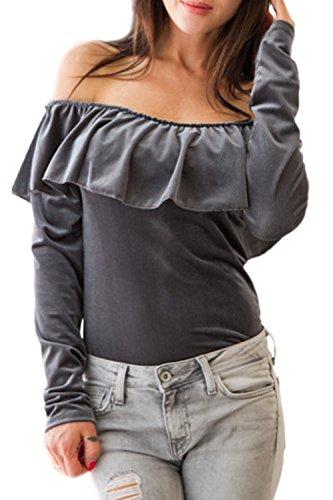 Otoño Caliente De Hombro Mujer Manga Larga Cuello Barco Volantes T Shirt Top Tee Gray