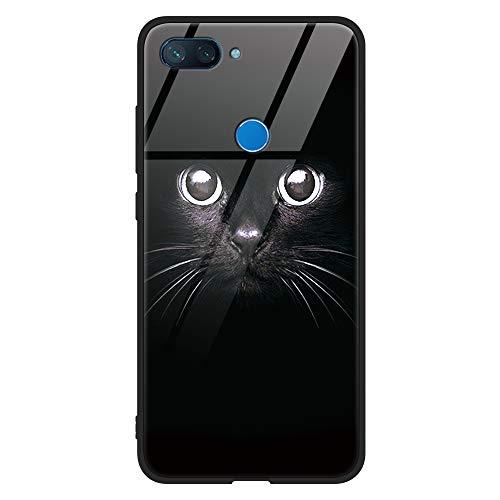Eouine Xiaomi Mi 8 Lite Case, [Anti-Scratch] Shockproof Patterned Tempered Glass Back Cover Case with Soft Silicone Bumper for Xiaomi Mi 8 Lite Smartphone (Black Cat)