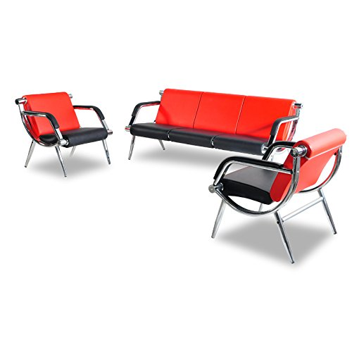 (BORELAX 3PCS Office Reception Chair Set Red and Black PU Leather Waiting Room Bench Visitor Guest Sofa Airport Clinic)