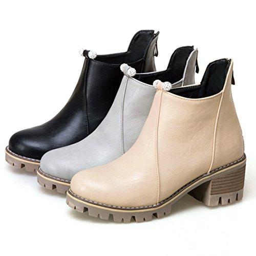 ... Aiyoumei Kvinners Rhinestones Rund Tå Tilbake Glidelås Blokk Hæler Høst  Vinterankelstøvletter Chelsea Boots Svart ...