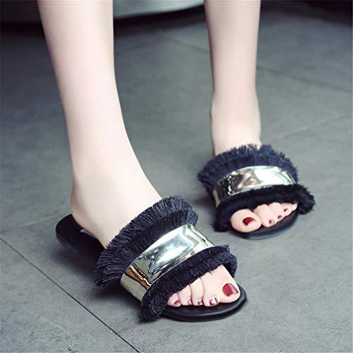 Chaussures Femmes YUCH De Ouvert Bout Black pour À Plates Plage dY8C5qn8