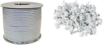 Cable coaxial (100 m, Incluye 100 Grapas para Cable), Color Blanco
