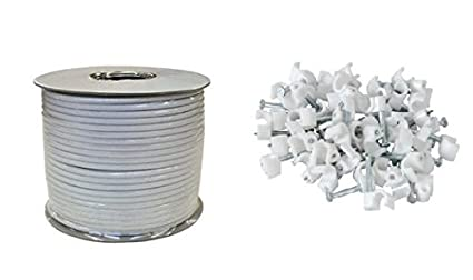 Cable coaxial (100 m, Incluye 100 Grapas para Cable), Color Blanco