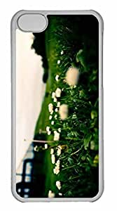 taoyix diy iPhone 5C Case, Personalized Custom White Flowers Close Up for iPhone 5C PC Clear Case