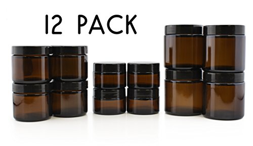 4-Ounce Amber Glass Straight Sided Jars (4 Each/12 Total); Great Containers for Cosmetics, Lotions, Body Scrubs & Balms ()
