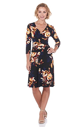 (Rekucci Women's Slimming 3/4 Sleeve Fit-and-Flare Crossover Tummy Control Dress (16,Gold/Multi Flora) )