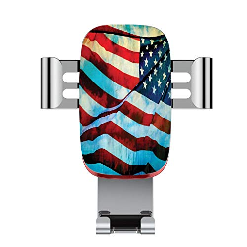 Metal automatic car phone holder,American Flag Decor,American Flag in the Wind on Flagpole Memorial Patriot Histo,adjustable 360 degree rotation, car phone holder compatible with 4-6.2 inch smartphone