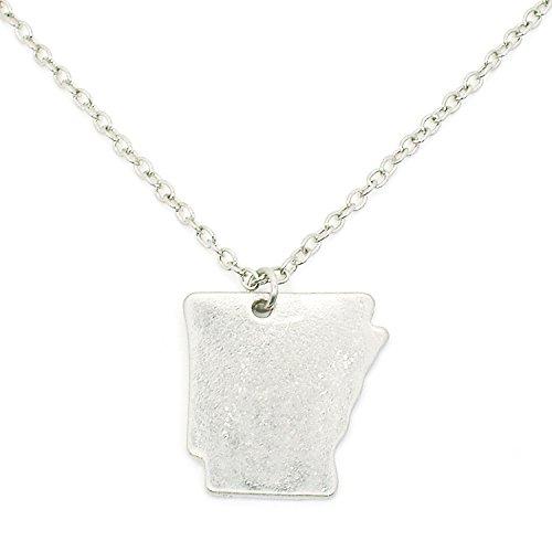 (Khloe Patriotic United States: State-Shaped Pendant Necklace: Arkansas Silver-Tone)