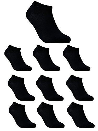 10 Pair Low Cut Black Socks Cotton No Show Ankle Trainer Liner Men Women US 11-13