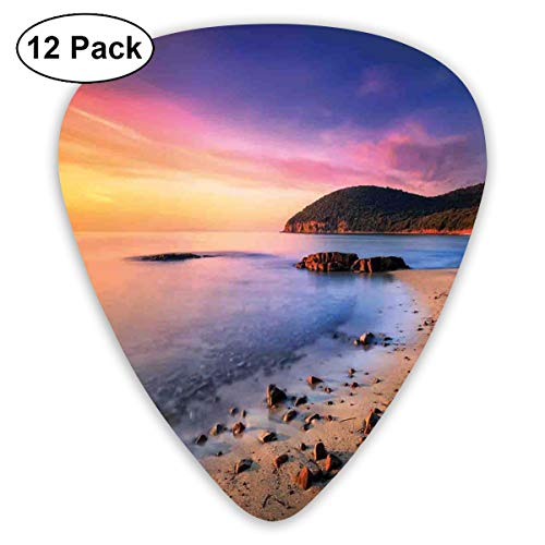 Celluloid Guitar Picks - 12 Pack,Abstract Art Colorful Designs,Famous Mediterranean Sun Rise On The Beach With Pebbles Tourism Serene View Print,For Bass Electric & Acoustic Guitars.]()