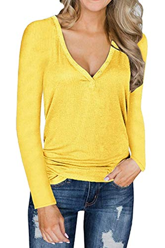 Cou Pull Manches Casual Pull Tops Femmes V Jaune Tricot Longues Top qx8X5C