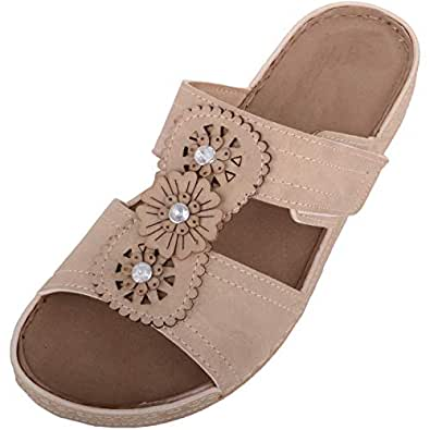 ABSOLUTE FOOTWEAR Womens Slip On Mule Style Summer/Holiday/Beach Sandals/Shoes - Beige - US 5